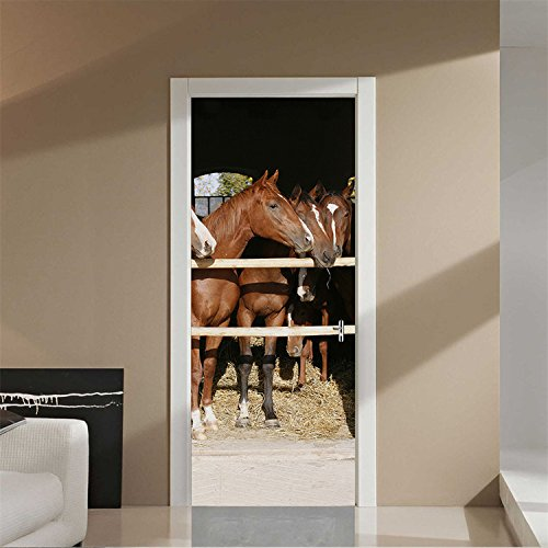 VancyTop 3D Stable Horse Pattern Door Sticker for Living Room Bedroom Home Decorations (Princess Decals Horse Wall And)