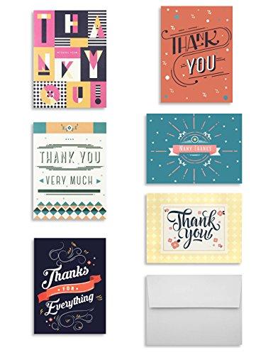 Miliko Thank You Card Set - 36 Cards & Envelopes - 6 Each of 6 -