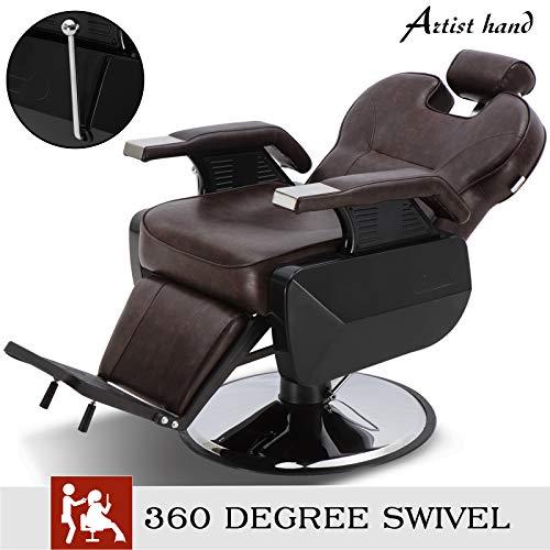 Barber Chair Hydraulic Recline Barber Chairs Salon Chair for Hair Stylist Tattoo Chair Heavy Duty Barber Salon Equipment (Brown)