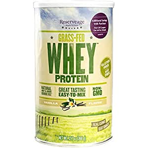 Reserveage - Grass Fed Whey Protein, Minimally Processed with High Biological Value, Vanilla, 12 Servings (12.7 oz)