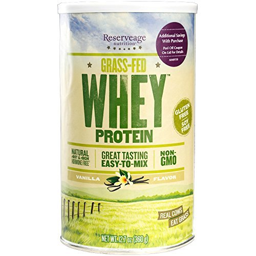 Reserveage – Grass Fed Whey Protein, Creamy, Delicious, Minimally Processed Whey from Pasture Fed Cows to Support Healthy Weight Management and Fitness, Non-GMO, Vanilla, 12 Servings 12.7 oz