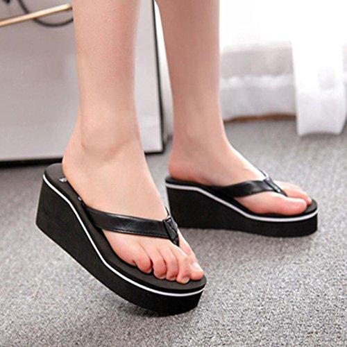 Transer 2016 1Pair Tirón del verano atractivo de los fracasos de sandalias de las mujeres de Bohemia mollete pendiente con sandalias Negro