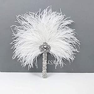 LISALI Bridal Feather Bouquet, Feather Fan, Bride Fan, Peacock Handfasting, 20s Great Gatsby Bouquet, Vintage Wedding Bouquet 44