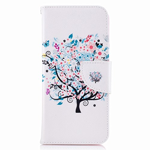 Yiizy Samsung Galaxy S8 Custodia Cover, Azzurro Albero Design Sottile Flip Portafoglio PU Pelle Cuoio Copertura Shell Case Slot Schede Cavalletto Stile Libro Bumper Protettivo Borsa