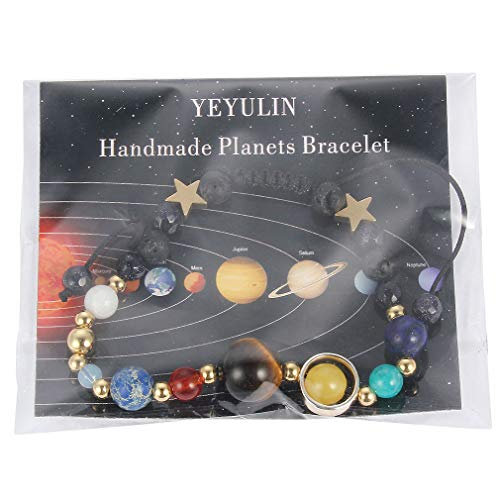 YEYULIN Handmade Galaxy Solar System Bracelet Universe Eight Planets Star Natural Stone Beads Bracelets Bangles by YEYULIN (Image #5)