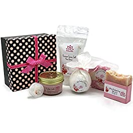 Handcrafted Bath Luxury Spa Gift Set for Women – Natural Oils and Epsom Salt Bath Bombs, Organic Shea Butter Soap…