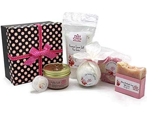Bath and Body Luxury Spa Gift Set For Women - Natural Coconut Oil Epsom Salt Bath Bombs, Organic Shea Butter Soap - Beautiful Polka Dot Gift Box - Best Gift for Women, Mother, Mom, Girls, Her