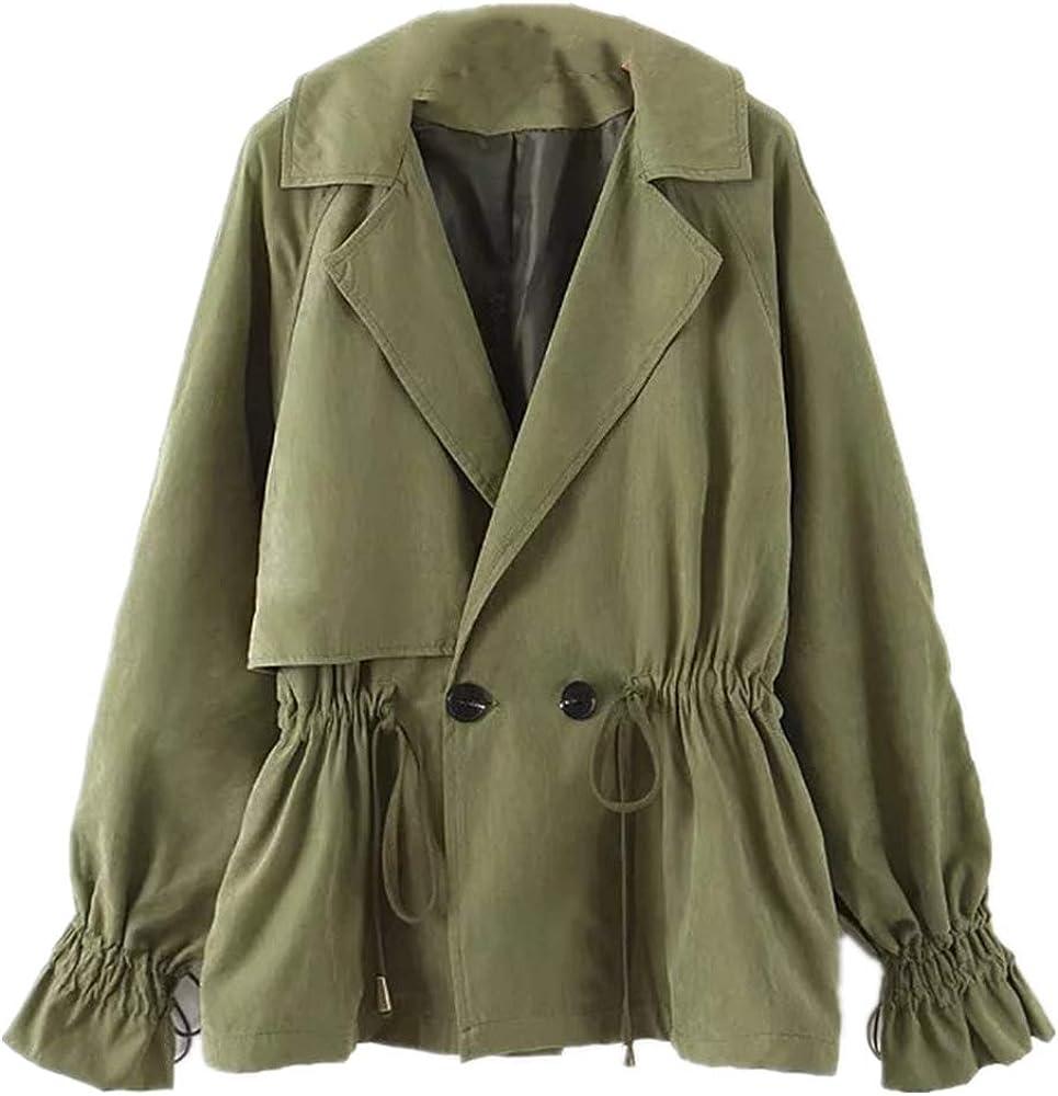 NOBRAND - Abrigo corto para mujer con cuello de doble botonadura con cordón en la cintura