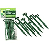 10 PC PLASTIC GARDEN PEGS LARGE SUPPORT HOLD WEED GUARD FLEECE NETTINGS