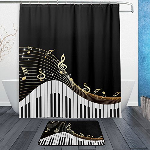 Naanle Modern Art Music Note with Piano Keyboard Waterproof Polyester Fabric Shower Curtain (60