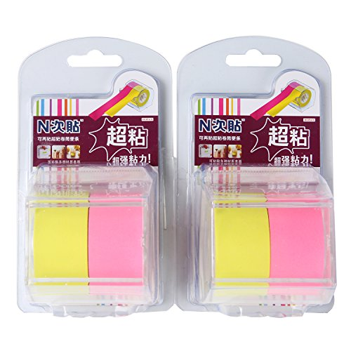 2 PCS Divider Sticky Notes Post Tab Markers Full Adhesive Label Roll Tapes with Dispenser Holder by Ning Store (2 Colors in one, 1 inch x 33 ft x 2pcs)