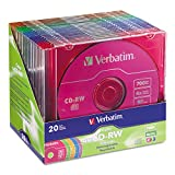 Verbatim 94300 CD-RW Discs, 700MB/80min, 4X, Slim Jewel Case, Assorted Colors, 20/Pack
