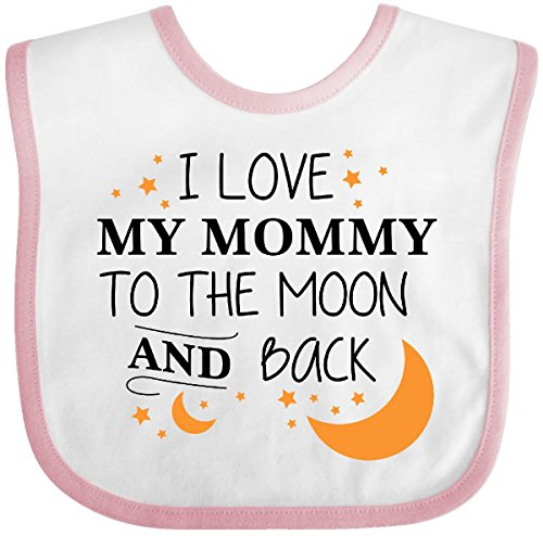 Inktastic - I Love My Mommy To The Moon and Back Baby Bib White/Pink