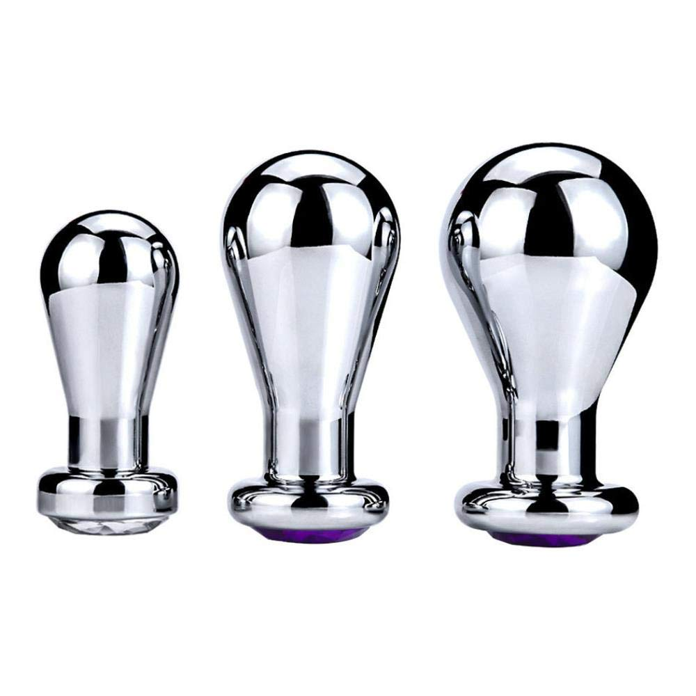 Sadiex Metal Anal Toys Smooth Touch Butt Plug Stainless Steel Erotic Toys Anal Plug Sex Toys for Adult Game Anal Stimulation RY-151,Three in 1set