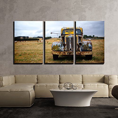 Old Car Framed (wall26 - 3 Piece Canvas Wall Art - Abandoned Old Fashion Car - Modern Home Decor Stretched and Framed Ready to Hang - 16