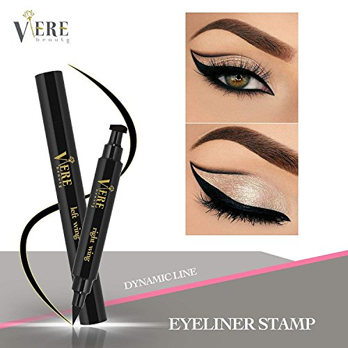 Winged Eyeliner Stamp – 1 Left Wing Stamp with Eyeliner Pen and 1 Right Wing Stamp with Eyeliner Pen for Precise and On Trend Long Lasting Eyeliner Application – Smudge Proof and Waterproof ()