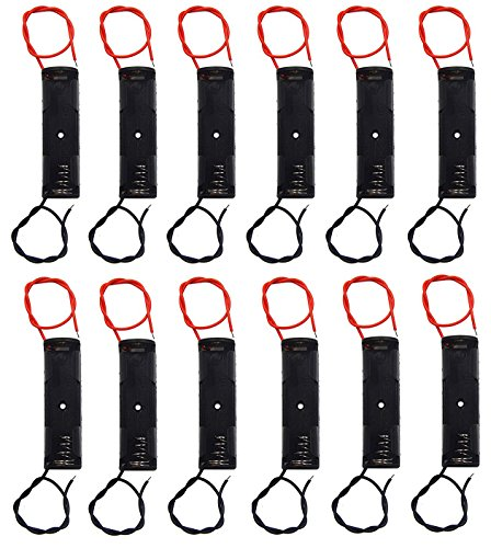 WAYLLSHINE® 12 Pcs/1 Dozen 1 x 1.5V AA Battery Spring Clip Black Plastic 1 x 1.5V AA Battery Case Holder Box Black Red Wire Leads