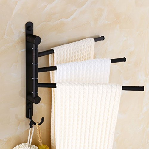 ELLO&ALLO Oil Rubbed Bronze Swing Out Towel Rack for Bathroom Holder Wall-Mounted Towel Bars with Hooks (3-Arm)