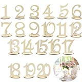 KINDPMA Wedding Table Numbers 1-20 Wooden Table Number with Sturdy Holder Base Painting for Party Baby Shower Banquet Anniversary Home Catering Decor
