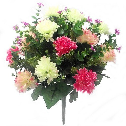 ARTIFICIAL FLOWERS - 41cm SPIKEY CHRYSANTHEMUM MIXED BUSH (Pink & Cream) Bountiful Harvest
