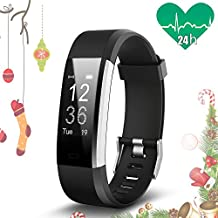 JoyGeek Fitness Tracker, Smart Bracelet, Heart Rate Monitor, Smart Watch with Music/Camera Control Sleep Monitor Pedometer Calorie Counter GPS Sports and Call/SMS Reminder for iPhone X/8/8plus/7/7 plus Samsung S7/note 7/S8 Huawei Mate 9/P9/P10 (Black)