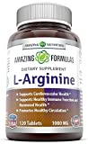 l arginine 1000 - Amazing Nutrition L-Arginine 1000mg Supplement - Best Amino Acid Arginine HCL Supplements for Women & Man - Promotes Circulation and Supports Cardiovascular Health - 120 Tablets