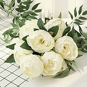 SHINE-CO LIGHTING Artificial Peony Silk Flowers Bouquet Glorious Moral for Home Office Parties and Wedding 5