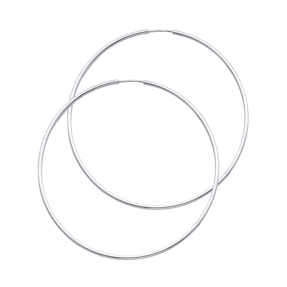 14k White Gold 1.5mm Thickness Endless Hoop Earrings (45 x 45 mm)