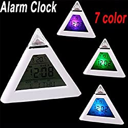 Luxbody(TM) 1pc 7 Change Color Digital LCD Pyramid Shape Triangle Thermometer Alarm Clock
