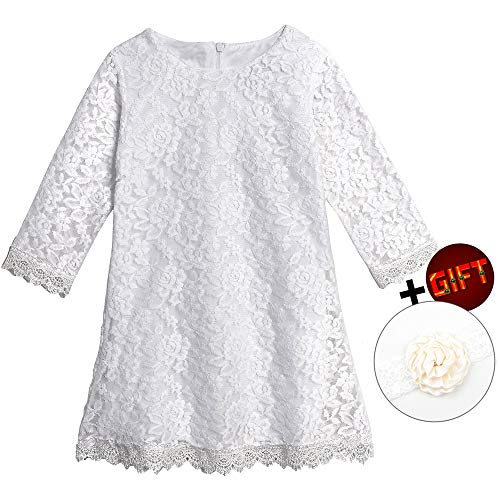 Big Dresses for Girls 7-16 Lace Flower Vintage Dress Size 9-10 Big Girl Halloween Christmas Party Pageant Dress Sleeveless Floor Length Bridesmaid Princess Dress for Juniors (White -