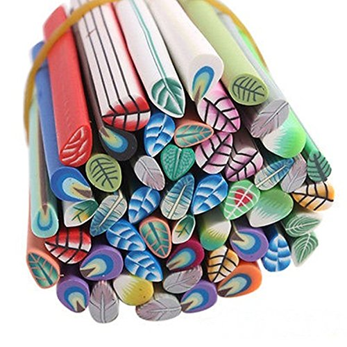 (Leaf Art Decal Fimo Polymer Clay Cane Nail Stickers)