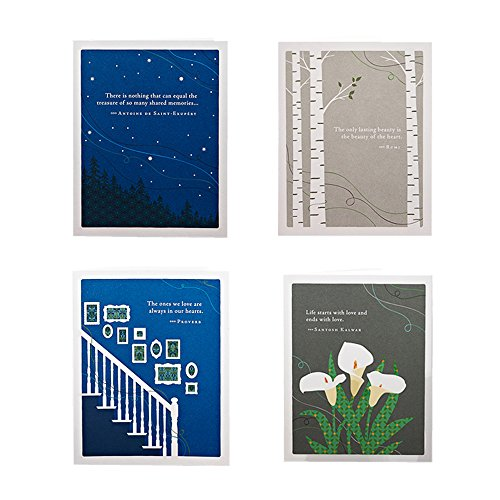 Fond Remembrance Sympathy Bundle by Positively Green, Set of 4 Different Sympathy Greeting Card Designs with Sentiments, Four White Envelopes Included (Sympathy Card End)