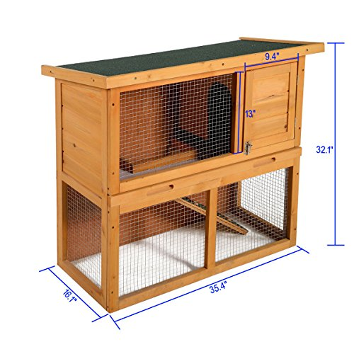 LAZYMOON-36-Wooden-Rabbit-Bunny-Hutch-House-Coop-Poultry-Cage-Outdoor-Run