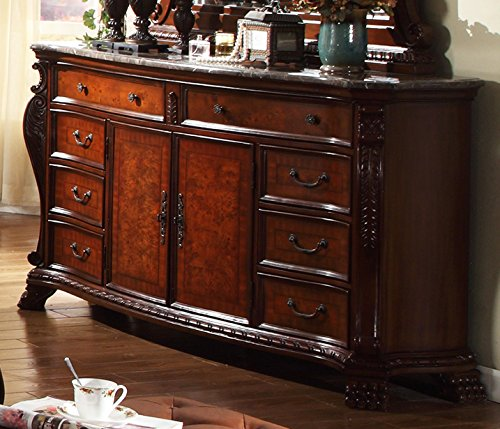 Meridian Furniture Luxor-D Luxor 8 Drawer + 2 Door Solid Wood Dresser with Traditional Hand Carved Designs, and Genuine Marble Top, Rich Cherry ()