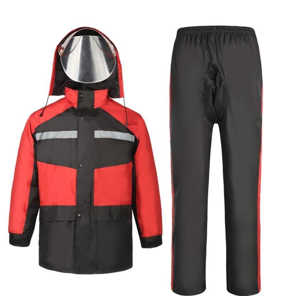 Reflektierende Jacke Reflektierende Warnjacke Reflektierende Laufbekleidung Leichte Und Atmungsaktive Wasserdichte Jacken Mit Kapuze Radjacke Wasserdichtes Regenmantel-Set ( Farbe : Red , Size : L )