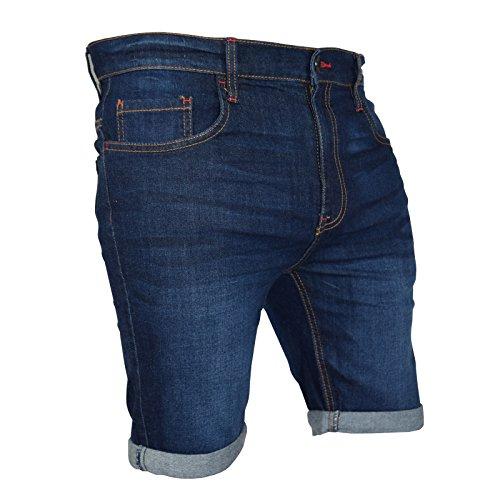 Gamba Aderenti Uomo Blue In Westace Metà Jeans Dark Pantaloncini Denim Da Spandex Cargo A Elasticizzato Lunghezza RYqOqznZ
