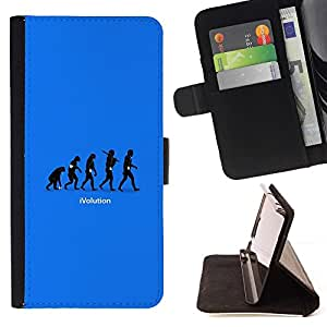 For Apple Iphone 5 / 5S cool funny ivolution evolution technology Style PU Leather Case Wallet Flip Stand Flap Closure Cover
