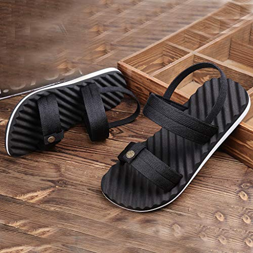 89269dffc8d Amazon.com  HOSOME Men s Fashion Elastic Band Flat Beach Sandals Outdoor  Slide Skid Shoes  Clothing