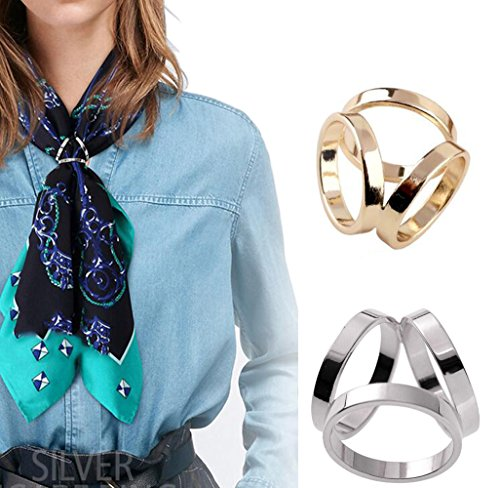 Gold Slide Ring - 2PCS(Golden + Silver) Women Lady Girls Three Ring Fashion Scarf Ring Buckle Modern Simple Triple Slide Jewelry Silk Scarf Clasp Clips Clothing Wrap Holder
