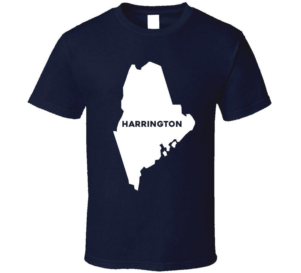 Harrington Maine Map.Amazon Com Harrington Maine City Map Usa Pride T Shirt Clothing