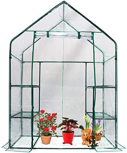 Quictent Greenhouse Mini Walk-in 3 Tiers 6 Shelves 102lbs Max Weight Capacity Portable Plant Garden Outdoor Green House 56 x29 x77 , with 50 T-Type Plant Tags