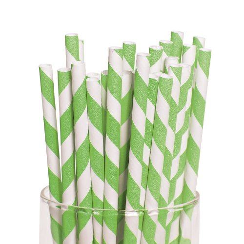 Lime Green Striped Paper Straws - Birthday and Theme Party Supplies - 12 per Pack