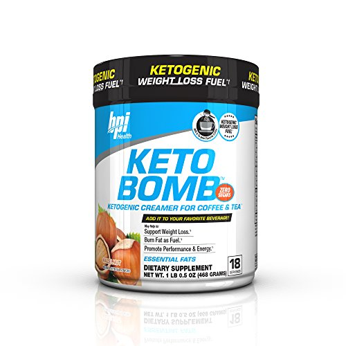 BPI Sports Keto Bomb Ketogenic Creamer for Coffee and Tea with MCT Oil, Saffron and Avocado Oil Powder to Support Weight Loss (Hazelnut, 18 Servings)