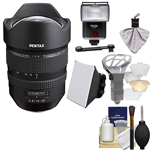 (Pentax HD FA 15-30mm f/2.8 ED SDM WR Zoom Lens with Flash + Soft Box + Diffuser + Kit)
