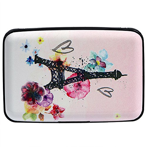 Vichline Aluminum RFID Blocking Slim Metal Wallet Credit Card Holder for Men Women (Watercolor Eiffel Towe and Flowers)