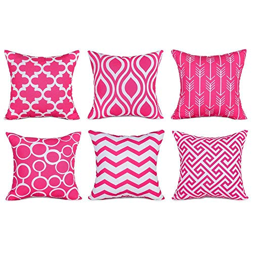 Tharv❤6PC/Set Home Decorative Pillowcase Cotton Linen Sofa Cushion Throw Pillow Cover (Hot Pink)