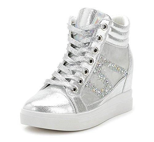 Mme Spring chaussures d'ascenseur chaussures en maille strass pente chaussures perméable à l'air avec haut-dessus chaussures Mme , US6.5-7 / EU37 / UK4.5-5 / CN37