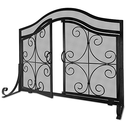 Amagabeli Fireplace Screen with Doors Large Flat Guard Fire Screens Outdoor Metal Decorative Mesh Solid Baby Safe Proof Wrought Iron Fire Place Panels Wood Burning Stove Accessories Black