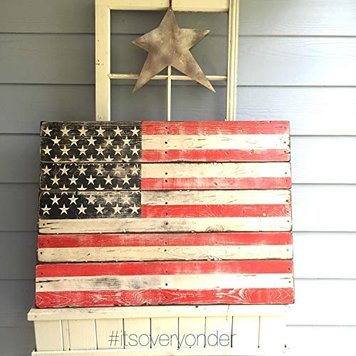 (weewen Flag American Flag Pallet Wood Rustic USA Red White Blue Old Glory Patriotic 4Th of July Home Decorative Plaque Sign with Sayings Cabin Decor)