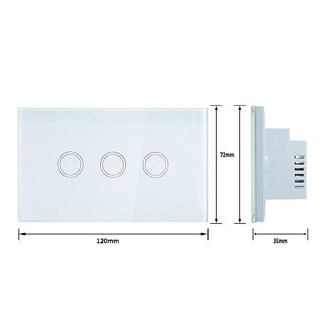Interruptor eDealMax tacto ligero de la pared, panel de lujo del vidrio cristalino, CA 110-240V 1 Camino 3 Banda táctil inteligente interruptor WHITE EE.UU.